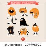 cute monsters  creatures ... | Shutterstock .eps vector #207996922