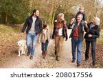 Stock photo multi generation family on countryside walk 208017556
