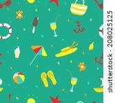 summer illustration. beach... | Shutterstock . vector #208025125