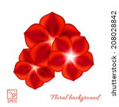 Set Of Red Flowers Isolated On...