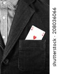 Small photo of Ace of hearts, ace in the hole, concept for work loving or choosing between work and love