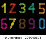 tape number set from 1 to 9... | Shutterstock . vector #208040875