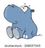 Stock photo little hippopotamus cartoon 208057345