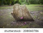 Ancient Crooked Tombstone With...