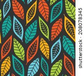 ethnic lined colorful leaves... | Shutterstock .eps vector #208078345