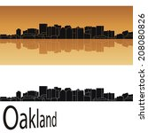 Oakland skyline in orange background in editable vector file - stock vector