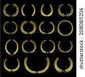set of fifteen different golden ... | Shutterstock .eps vector #208085206