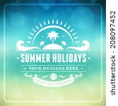 summer vector typography.... | Shutterstock .eps vector #208097452