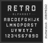 retro alphabet font. type... | Shutterstock .eps vector #208098262