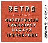 retro alphabet font. type... | Shutterstock .eps vector #208098715