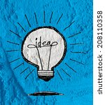 Idea Light Bulb Icon On Cement...