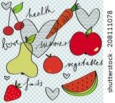 summer health fruits vector | Shutterstock .eps vector #208111078