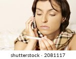 young woman  girl with a sore... | Shutterstock . vector #2081117