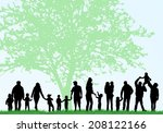 big family silhouettes | Shutterstock .eps vector #208122166