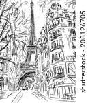 street in paris  sketch ... | Shutterstock . vector #208126705