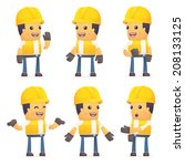 set of contractor character in... | Shutterstock .eps vector #208133125