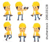 set of contractor character in... | Shutterstock .eps vector #208133128