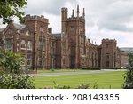 Queens university in Belfast with clouds