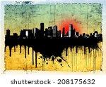 Grunge Dripping City Skyline