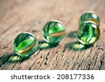Glass Marble Balls On Old...
