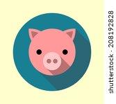cute piglet icon. flat long...   Shutterstock .eps vector #208192828