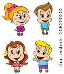 small children  set  vector... | Shutterstock .eps vector #208200202