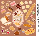 set of various baked goods. | Shutterstock .eps vector #208205098