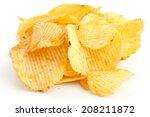 crinkle cut crisps on white... | Shutterstock . vector #208211872