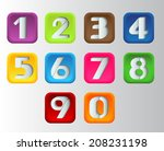 square modern colorful numbers... | Shutterstock .eps vector #208231198