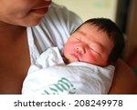 sleeping newborn baby aged 2... | Shutterstock . vector #208249978
