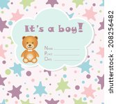 baby boy arrival card. baby... | Shutterstock .eps vector #208256482