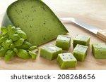 Green Pesto Cheese And Basil...