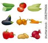 vegetables icon set | Shutterstock .eps vector #208294066