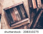 old small wooden crates on... | Shutterstock . vector #208310275