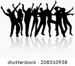 dancing people silhouettes | Shutterstock .eps vector #208310938