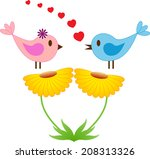 yellow flowers and singing... | Shutterstock .eps vector #208313326