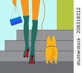 Fashionable Girl Walking With...