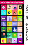 travel and tourism flat icons... | Shutterstock .eps vector #208341202