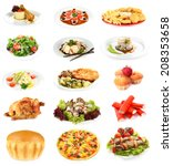 food collage isolated on white | Shutterstock . vector #208353658