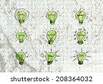 Idea Light Bulb Icon On Wall...