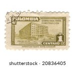 Old stamp from Colombia - stock photo