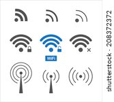 set of nine different wireless... | Shutterstock .eps vector #208372372