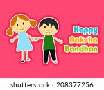 cute little sister and brother... | Shutterstock .eps vector #208377256