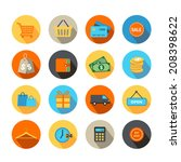 shopping icons in flat design... | Shutterstock .eps vector #208398622