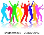 dancing people silhouettes | Shutterstock .eps vector #208399042