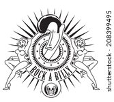 rock a billy tattoo style   Shutterstock .eps vector #208399495