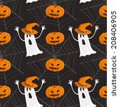 seamless halloween pattern... | Shutterstock .eps vector #208406905