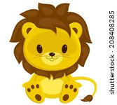 Stock vector cartoon vector illustration of sitting lion cub isolated over white 208408285