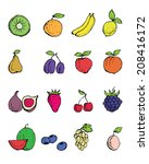 hand  painted fruit icons | Shutterstock .eps vector #208416172