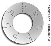seven piece flat puzzle round... | Shutterstock . vector #208418062